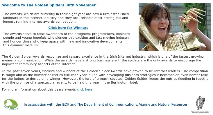An Extract from the 2004 Eir Spiders Website